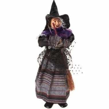 Halloween - heks decoratie pop paars/zwart 25 cm halloween versiering