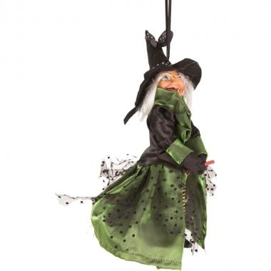 Halloween - heks hangdecoratie pop groen/zwart 25 cm halloween versie