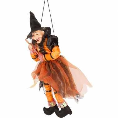 Halloween - heks hangdecoratie pop oranje/zwart 45 cm halloween versi