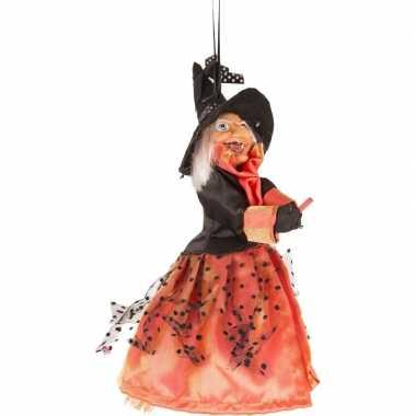 Halloween - heks hangdecoratie pop rood/zwart 25 cm halloween versier