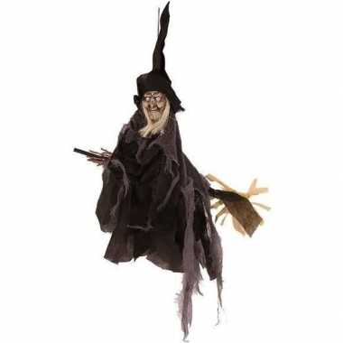 Halloween - heks hangdecoratie pop zwart 50 cm halloween versiering
