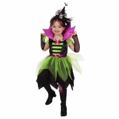 Halloween heksen jurk groen/zwart voor kinderen