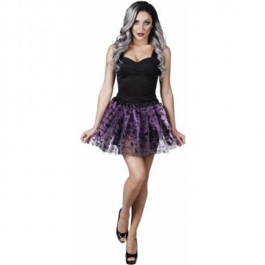 Halloween - heksen verkleedaccessoire tutu rok zwart/paars voor dames