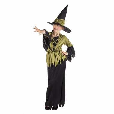 Halloween - lange heksenjurk zwart/groen voor meisjes