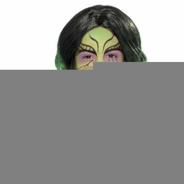 Halloween - lange zwart met groene meisjespruik met krullen