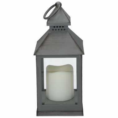 Halloween - lantaarn led kaars grijs 24 cm