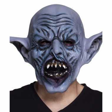 Halloween - latex blauw ork monster hoofdmasker voor volwassenen