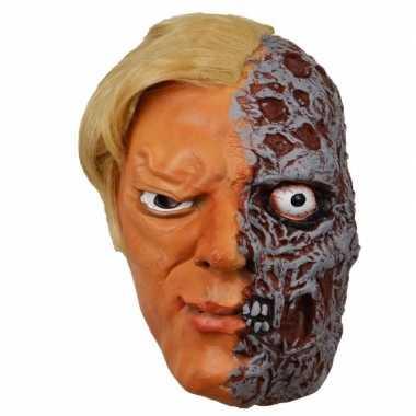 Halloween - latex horror masker half verbrand gezicht