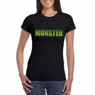 Halloween monster tekst t-shirt zwart dames