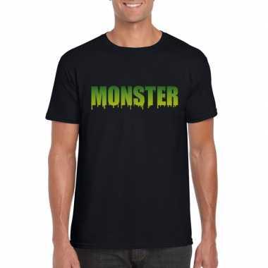 Halloween monster tekst t-shirt zwart heren