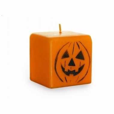 Halloween - oranje pompoen kaars 7 cm