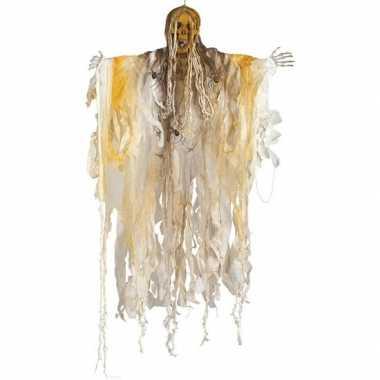 Halloween - skelet/heks hangdecoratie pop wit 140 cm met licht hallow