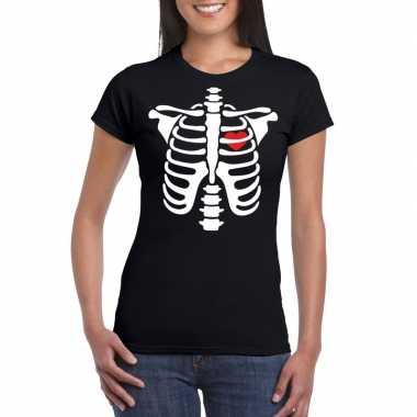Halloween skelet t-shirt zwart dames