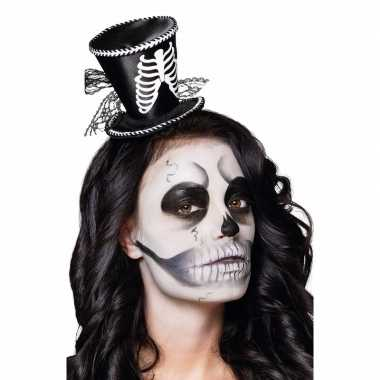 Halloween - skeletten dames hoedje op tiara