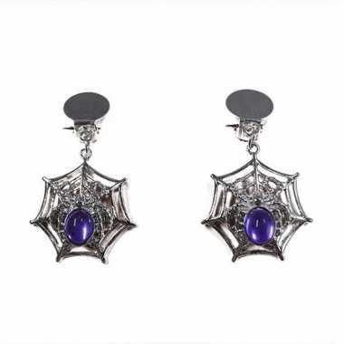 Halloween - spinnenweb oorbellen clip-on zilver/paars