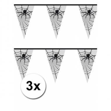 Halloween spinnenweb vlaggenlijn 6 meter 3 stuks