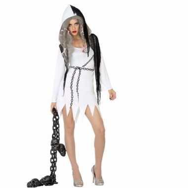 Halloween spook dames outfit wit met zwart