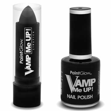 Halloween - vampieren schmink set mat zwarte lippenstift en nagellak