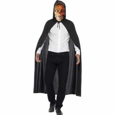 Halloween verkleed cape met transparante doodskop masker