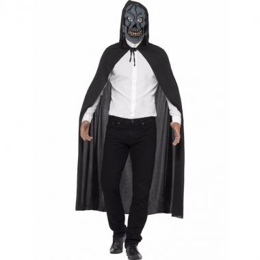 Halloween verkleed cape met zombie skelet masker