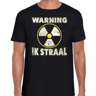 Halloween warning ik straal verkleed t-shirt zwart voor heren
