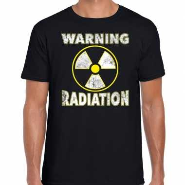 Halloween warning radiation verkleed t-shirt zwart voor heren