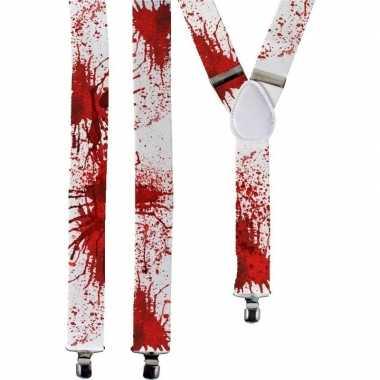 Halloween - witte bretels met bloedvlekken voor volwassenen