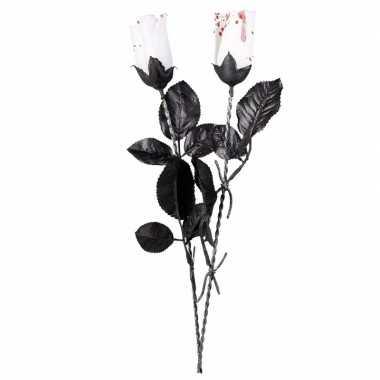 Halloween witte roos met bloed 45 cm