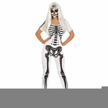 Halloween - witte skelet catsuit kostuum voor dames
