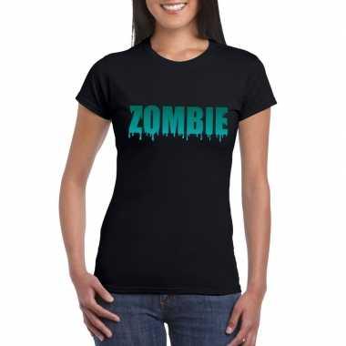 Halloween zombie tekst t-shirt zwart dames