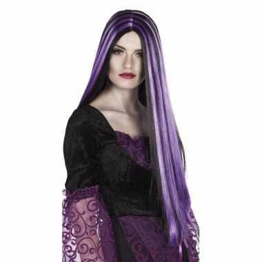 Halloween - zwart met paarse heksenpruik voor dames