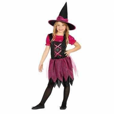 Halloween - zwart/roze heksen kostuum voor meisjes