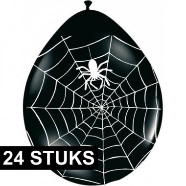 Halloween - zwarte ballonnen met spinnenweb 24 stuks