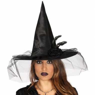 Halloween - zwarte heksenhoed met bloem en sluier