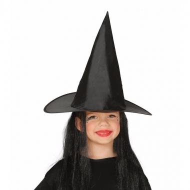 Halloween zwarte heksenhoed met haar voor meisjes trend