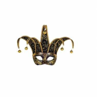 Handgemaakt decoratie masker zwart/goud