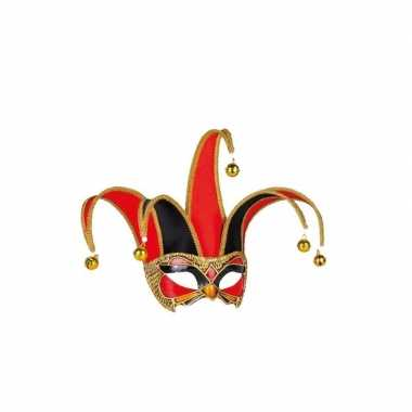 Handgemaakt decoratie masker zwart/rood