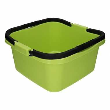 Handige teil / afwasteil met handvat groen 13 liter