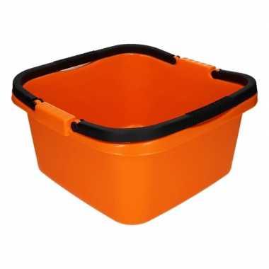 Handige teil / afwasteil met handvat oranje 13 liter