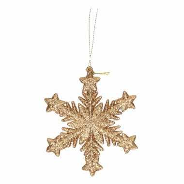 Hangdecoratie goud met glitters 10 cm