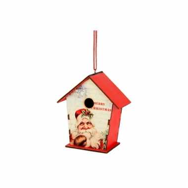 Hangdecoratie kerst vogelhuisje 12 cm