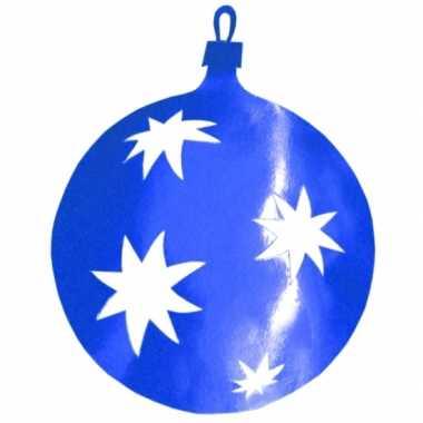Hangdecoratie kerstbal blauw 40 cm