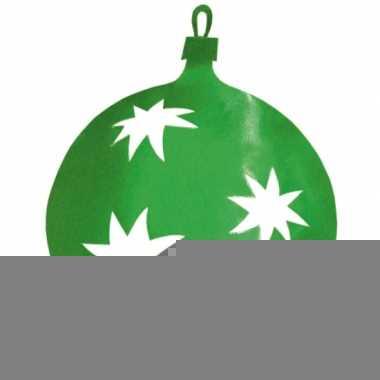 Hangdecoratie kerstbal groen 30 cm