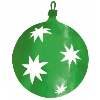 Hangdecoratie kerstbal groen 40 cm