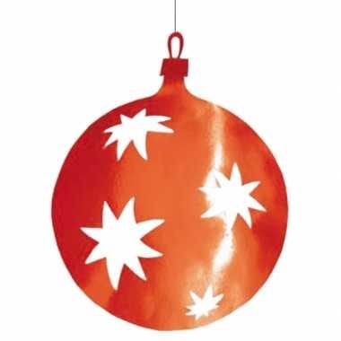 Hangdecoratie kerstbal rood 40 cm