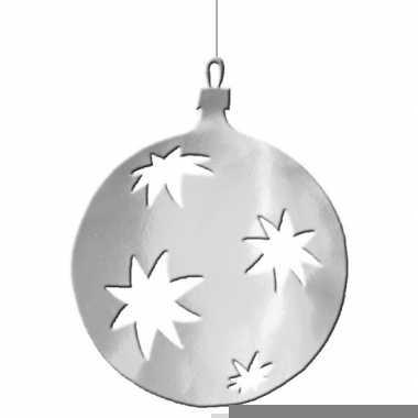 Hangdecoratie kerstbal zilver 30 cm