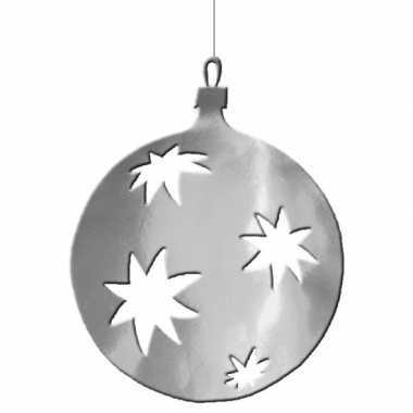 Hangdecoratie kerstbal zilver 40 cm