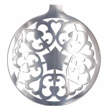 Hangdecoratie kerstbal zilver 49 cm