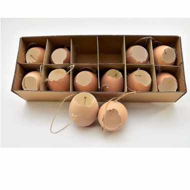 Hangdecoratie kippen eieren bruin 12 stuks