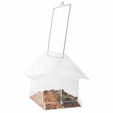 Hangend vogelvoederhuisje van acryl 15 cm
